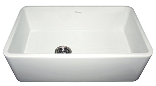 (Whitehaus WH3018-WHITE Duet 30-Inch Reversible Fireclay Sink with Smooth Front Apron, White)