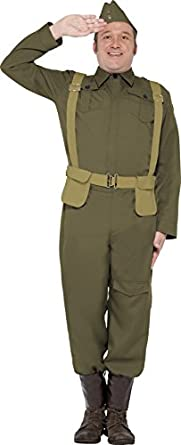 1940s Men's Costumes: WW2, Sailor, Zoot Suits, Gangsters, Detective Ww2 Home Guard Private Costume Trousers Ankle Covers Jacket $60.95 AT vintagedancer.com