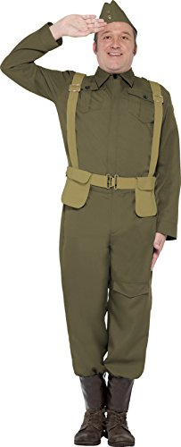 [Smiffy's Men's WW2 Home Guard Private Costume, pants Ankle Covers, Jacket, Hat and Harness Belt, Wartime 40's, Serious Fun, Size L, 22132] (Kids Green Guard Costumes)