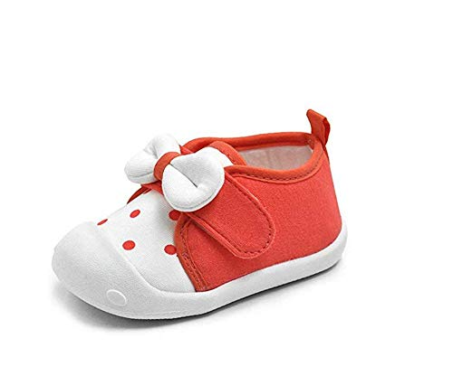 Kuner Baby Girls Boys Cotton Breathable Rubber Sole Non-Slip Sneakers First Walkers Shoes (18(Inside length-13.6cm)(21-24months), Watermelon red)