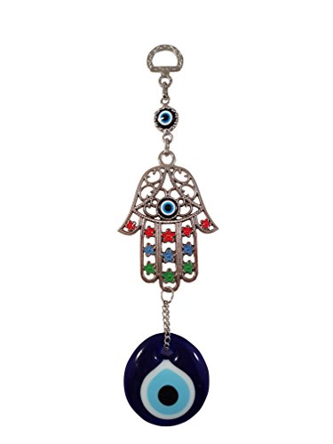 Bead Global Turkish Hand of Mother Fatima Evil Eye Home Protection Charm - Colourful Flowered Hamsa and Evil Eye Hanging Ornament Wall ()