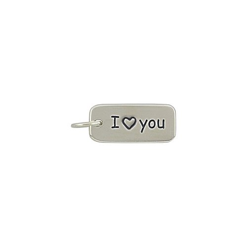 Zoe and Piper Charms Rectangular I LOVE YOU Double Sided Engraved Word Charm in Sterling Silver, - Double Sided Charm Engraved