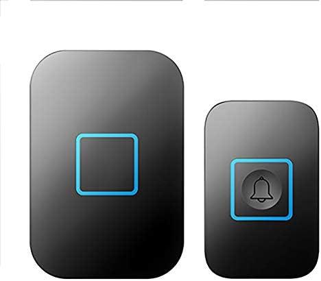 壁プラグインコードレスドアチャイム、1000フィート長距離ドアチャイムキット(1つのプッシュボタンと1つのレシーバー)52メロディー5つの音量レベルの防水電子ドアベル,黒