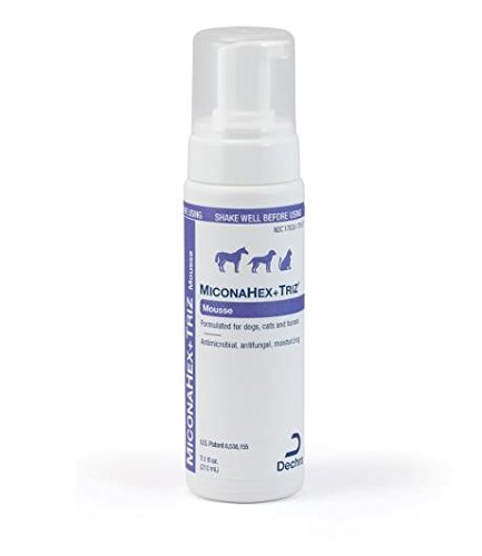 MiconaHex +Triz Mousse 7.1 ounces (200ml), Formulated for Dogs, Cats and Horses, Antimicrobial, Antifungal, Moisturizing, By Dechra Veterinary Products ()