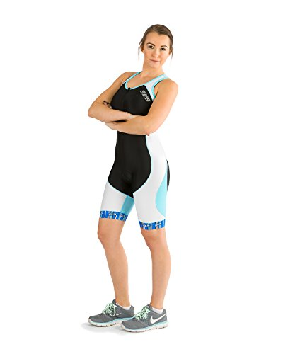 SLS3 Womens Triathlon Tri Race Suit - 1 Pocket Skinsuit Trisuit (Black/Blue, - Ladies Triathlon Suit