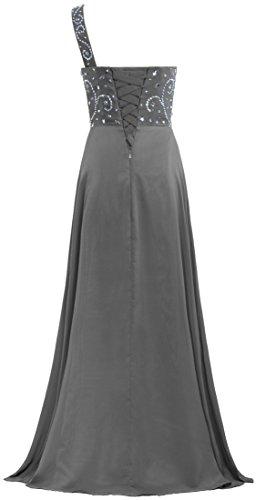 Mousseline De Soie Robes De Bal De Perles De Robe Longue Épaule De Fourmis Femmes Gris