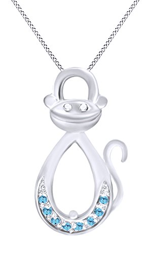 Simulated Aquamarine Infinity Monkey Pendant Necklace In 14K White Gold Over Sterling (White Gold Monkey)