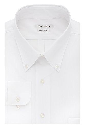 Van Heusen - Camisa de Vestir para Hombre, Ajuste Regular, Sedoso, Cuello de botón sólido, Blanco, 3X-Large