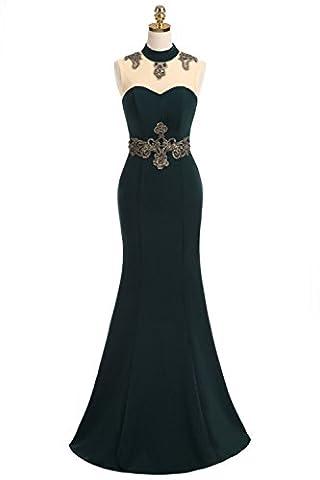 Huifany Sleeveless High Collar Applique Beading Floor Length Fishtail Evening Dress - Las Vegas Wedding Invitation Wording