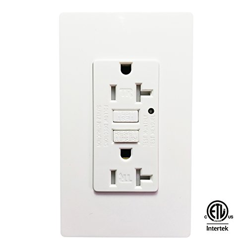 (GFCI Wall Outlet -SECKATECH 20 Amp 125 Volt Tamper-Resistant Receptacle with 2 Wallplates, White, ETL listed)