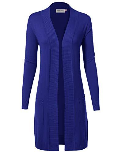 MAYSIX APPAREL Long Sleeve Long Line Knit Sweater Open Front Cardigan W/Pocket For Women Royalblue M