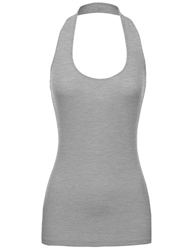 Basic Fitted Ribber Halter Tank Hgrey L Size