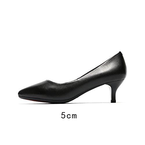 uomo Tacco Jqdyl alto Scarpe Punta Elegante alti donna Comode Scarpe 5cm Tacchi Superficiale da Primavera da Black Estate qqvZAznr