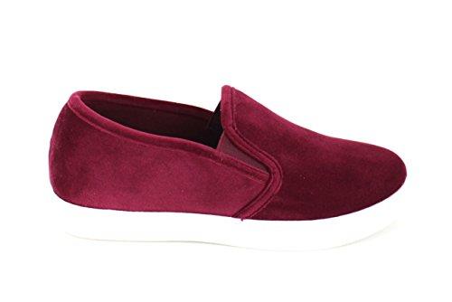 Urban Heels Women's Burgandy Casual Velvet Slip-On Sneaker 11 US