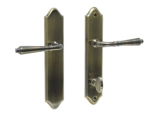 Bellagio by FPL- Solid Brass Inactive Trim Only Lever Set for Multipoint Lock, Antique Brass (Storm Door Multi Point Mortise Lock Pella)
