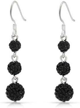 Bling Jewelry Crystal Balls Shamballa Inspired Dangle Earrings 925 Silver