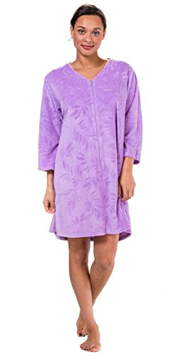 Miss Elaine Women's Terry Knit Zip Front Short Robe (X-Large, - Elaine Miss Front Zip