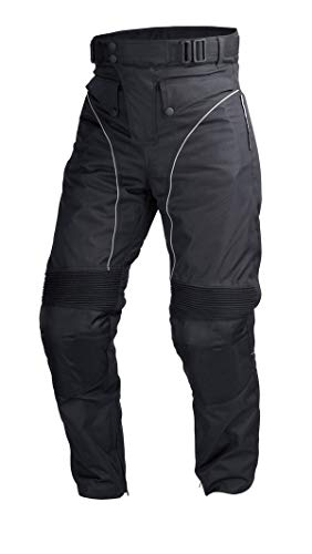 Mens Motorcycle Biker Waterproof, Windproof Riding Pants Black with Removable CE Armor PT1 (3XL)