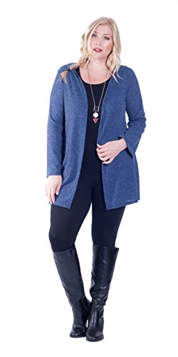 Hot Ginger Women's Plus Size Drape Front Ribbed Cardigan with Hood, Navy, 2X Hooded Ribbed Cardigan