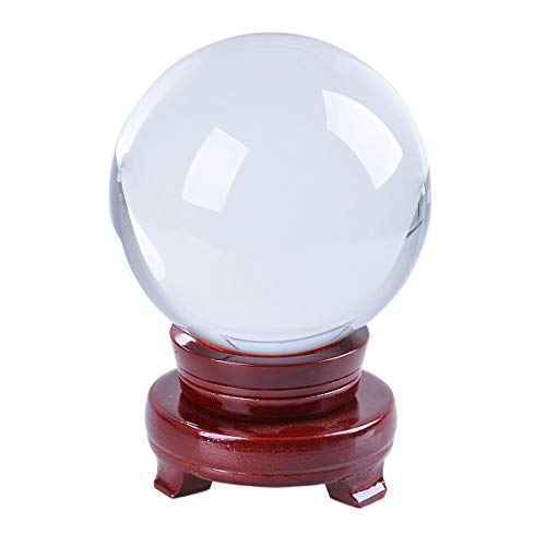 LONGWIN 120mm (4.7 inch) Large Crystal Divination Ball Photography Props Free Wooden Stand ()