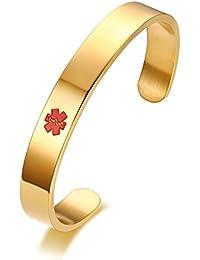 "Free Engraving Vnox Stainless Steel Medical Alert Bangle Bracelet,8"""
