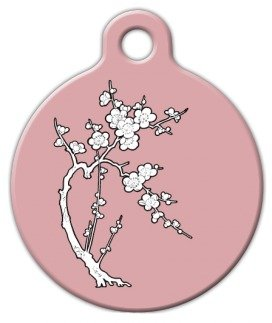 Zen Cherry Blossom - Custom Pet ID Tag for Dogs and Cats - D