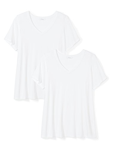 Daily Ritual Women's Plus Size Jersey Short-Sleeve V-Neck T-Shirt, 2-Pack, White/White, 3X by Daily Ritual