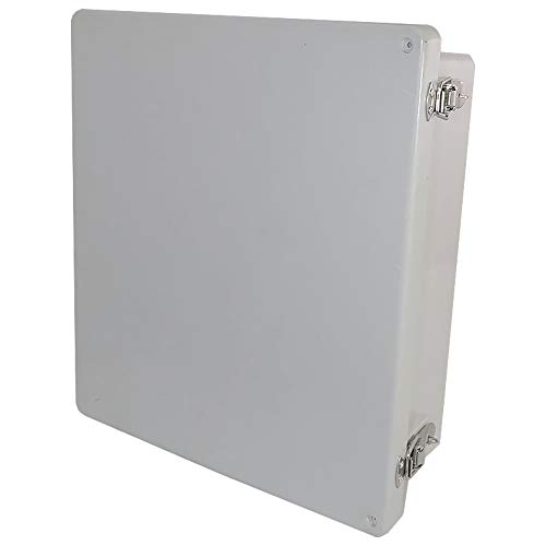 Altelix 14x12x6 FRP Fiberglass NEMA 4X Box Weatherproof Enclosure with Hinged Lid & Stainless Steel Latches