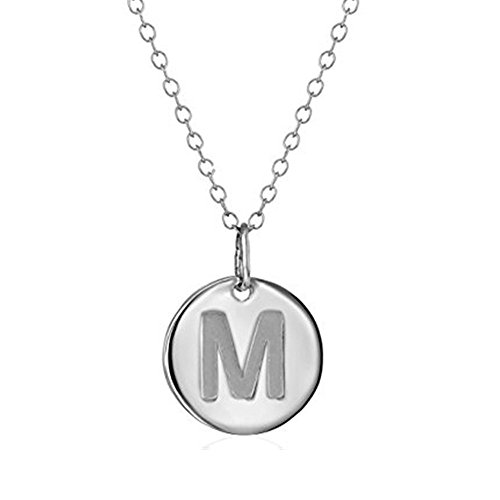 (925 Sterling Silver Round Disc Initial Pendant Necklace (M))