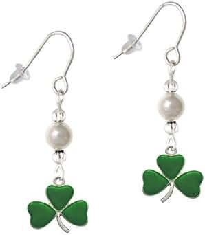 Green Three Leaf Clover - Shamrock Imitation Pearl French Earrings