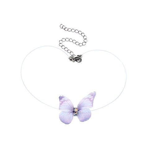 fednon mariposa colgante collar de gargantilla la línea de pescado Invisible cadena moda para mujeres y niñas Púrpura