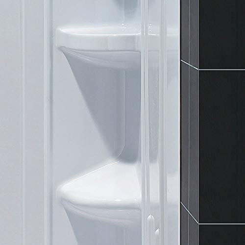 DreamLine 36 in. x 36 in. x 75 5/8 in. H Neo-Angle Shower Base and QWALL-2 Acrylic Corner Backwall Kit in White, DL-6040C-01 ()
