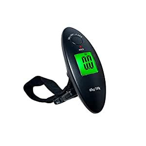 JPVGIA Baggage Scale Portable Luggage Scale Black Plastic with Backlit Electronic Scales, Suitable for Families, Travel, Shopping (Maximum Weight 40Kg)