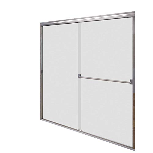 Tub Door Obscure Glass - Basco Classic Sliding Shower Door, Fits 40-44 inch opening, Obscure Glass, Silver Finish