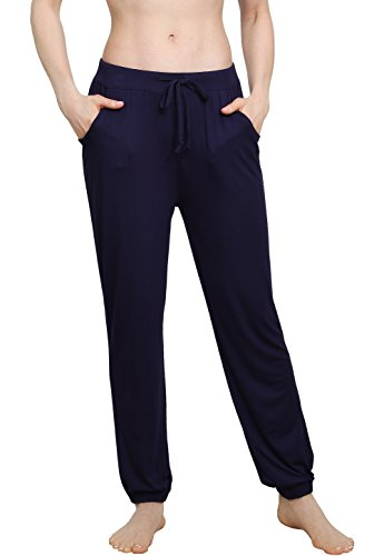 (Vislivin Women's Stretch Knit Pajama Pants Modal Sleep Pant Purplish Blue Thin XL)