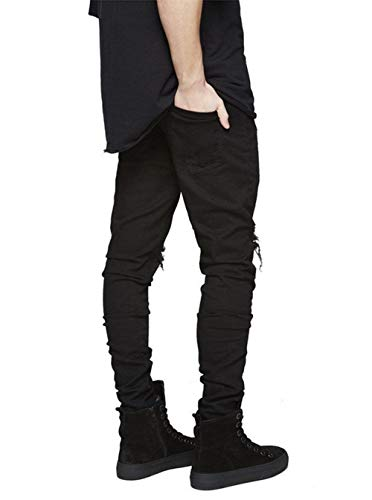 Jeans Distressed Stretch Pants Slim Denim Vintage Ripped Ropa Pantalones Destroyed Negro Fashion Stretch Fit Casual RT Denim AnYYEqUfw