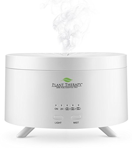 Plant Therapy AromaFuse Aromatherapy Essential Oil Diffuser 380 mL, White - Premium, Quiet, Atomizing Humidifier, 5 Timer Settings, 3 Dimmable LED Night Light Settings, Auto Shut Off