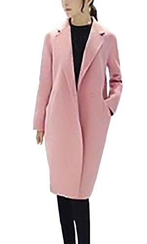 Mujeres Manga Paño Coat Chaquetas Elegante De Color Termico Solapa dqngWf