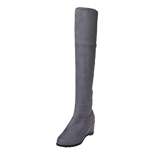 Aunimeifly Ladies Stylish Wild Solid Color Wedge High Booties Women's Warm Knee Elastic Long Boots(US:8,Gray)