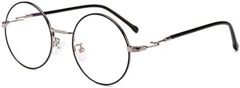 H54eru1z 男性と女性のためのレトロな丸メガネフレーム非処方のアイウェア 6awa23z (Color : Silver)