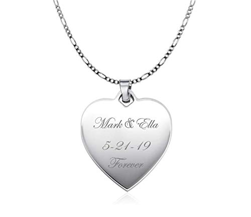Personalized Sterling Silver Heart Necklace Pendant Custom Engraved Free