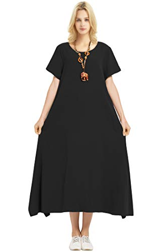 Anysize Linen Cotton Soft Loose Spring Summer Dress Plus Size Clothing F126A Black -