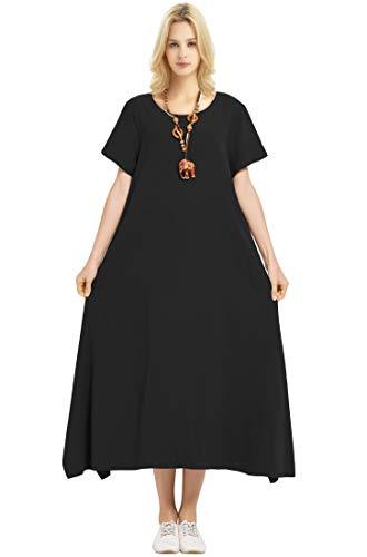 Anysize Linen Cotton Soft Loose Spring Summer Dress Plus Size Clothing F126A Black Asian(120)-US(XL)