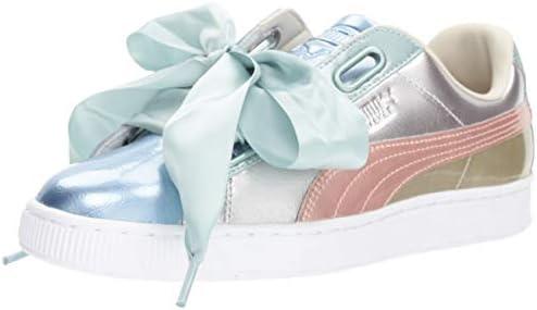 buy popular 5def5 f85fb PUMA Women's Basket Heart Bauble Sneakers, Silver, 10 B(M ...