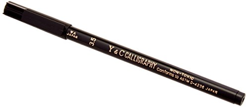 Yasutomo Y and C Non-Toxic Water Based Calligraphy Marker, 3.5 mm Mini-Chisel Tip, Black, Pack of 12