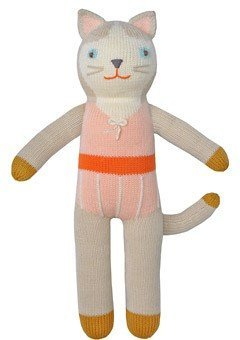 Blabla Colette The Cat Plush Doll - Knit Stuffed Animal for Kids. Cute, Cuddly & Soft Cotton Toy. Perfect, Forever Cherished. Eco-Friendly. Certified Safe & Non-Toxic. (Blabla Pink Cat)