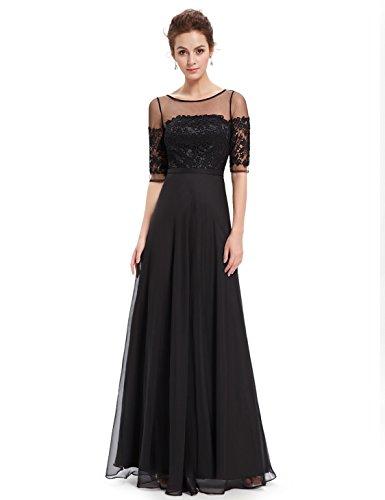 Ever 1 Pretty Ausschnitt 08459 Aermel 2 V Abendkleid Lang Halbtransparent Schwarz1 Chiffon Lace rwrd4qX
