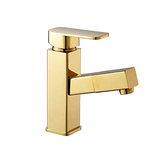 ZTMN Faucet Pvd Finish Bathroom Mixer Taps Rotatable Pullout Spray Single Handle One Hole Rotatable Kitchen Sink Faucet XXPP