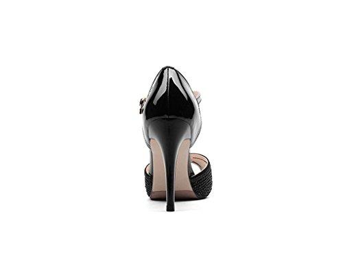 Mujer Alto de Sexy Moda de y Abierta Pescado la Zapatos Tamaño Negro Boca Punta Sandalias de Europa Zapatos América HJHY Tacón de de Color de Cuero con Rhinestone 38 Sandalias Sandalias XqPBa