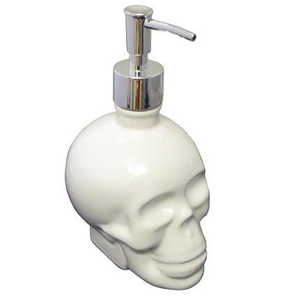 De cerámica blanca del cráneo del dispensador de jabón bomba de la loción de baño regalo